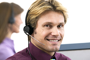 image of a male customer service representative along with the tex 'DCSE Customer Service 1-800-468-8894'